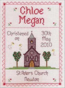 Christening Baby Girl Sampler - Nia Cross Stitch