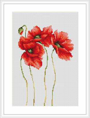 Four Poppies - Cross Stitch - Luca-S