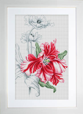 Red Tulips Cross Stitch - Luca-S *NEW*