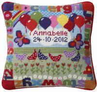 Balloons Baby Birth Sampler Tapestry