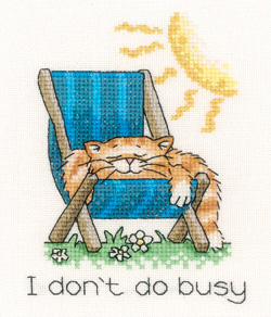I don't do Busy - Peter Underhill Cat Cross Stitch