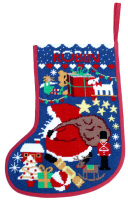 Starry Xmas Stocking Tapestry - Midnight (Plain Canvas)