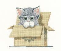 Cat in a Box Cross Stitch