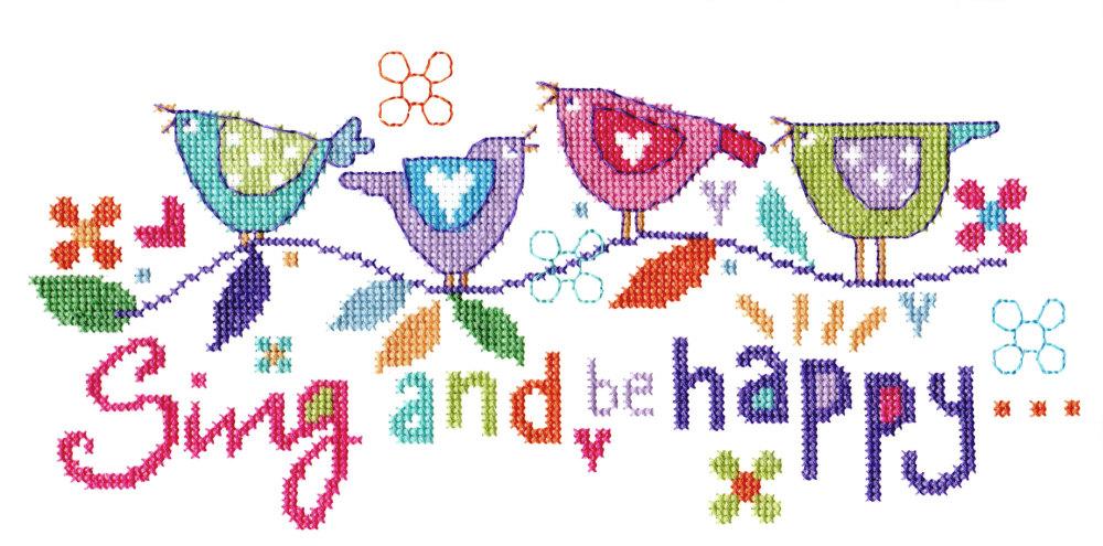 Sing and Be Happy Bird Cross Stitch