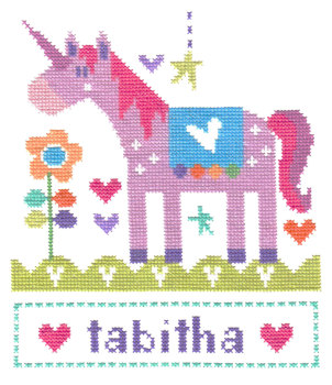 Unicorn Girl Sampler Cross Stitch