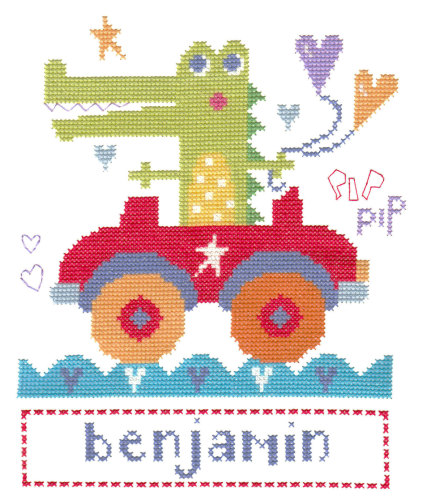 Croc in Car Sampler Cross Stitch