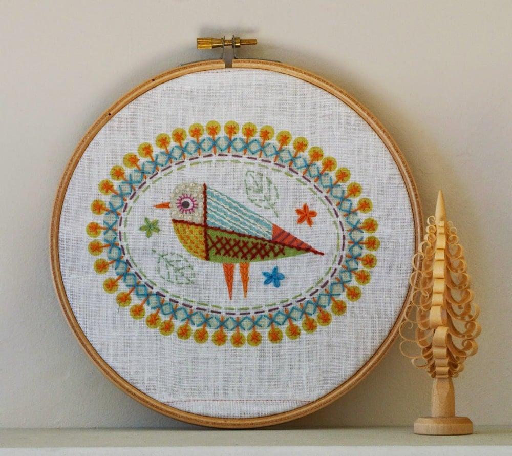 Birdie embroidery kit by nancy nicholson