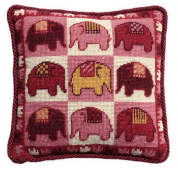 Pink Elephants Tapestry Kit (Plain Canvas)