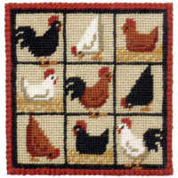 Black Hens Small Tapestry Kit