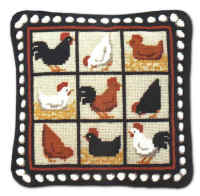 Black Hens Tapestry Kit (Plain Canvas)