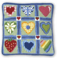 Patch Hearts Tapestry Kit (Plain Canvas)