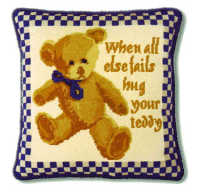 Blue Check Teddy Tapestry Kit - (Plain Canvas)