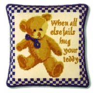 Blue Check Teddy Tapestry Kit
