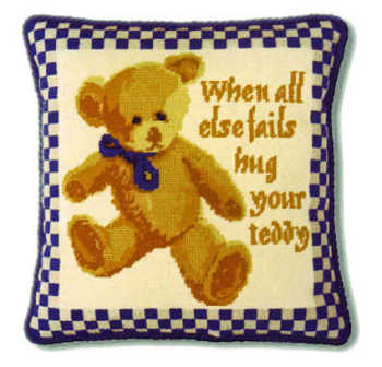 Blue Check Teddy Tapestry Kit