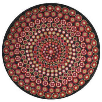 Black Millefiori Round Tapestry (Plain Canvas)
