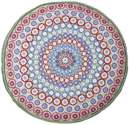Green Millefiori Round Tapestry
