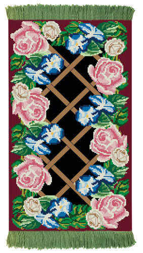 Rose Lattice Burgundy Rug/Wall Hanging Kit