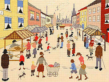 Friday Market - Cross Stitch (L.S. Lowry)