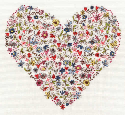 Love Heart Cross Stitch - Bothy Threads