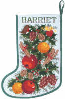 White Garland  - Christmas Stocking (Plain Canvas)