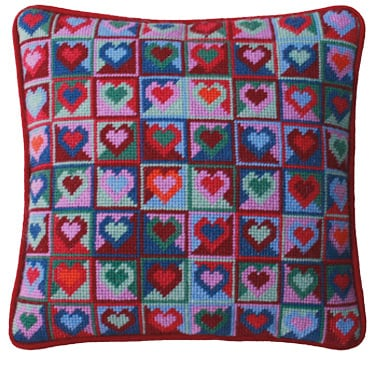 Mosaic Hearts Tapestry Kit (Plain Canvas)