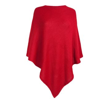 Red poncho knitted in 100% Alpaca fibre, 11 more colours
