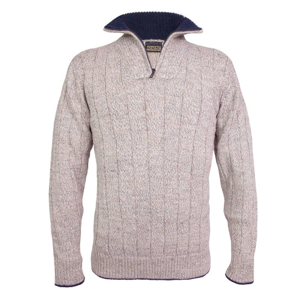 Men's zip neck alpaca jumper in oatmeal fleck