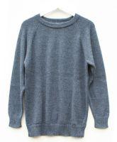Crew neck pure alpaca jumper (Blue), sizes S to XL