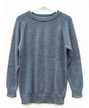 Crew neck pure alpaca jumper (Blue), sizes S to XL