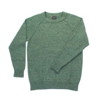 Crew neck pure alpaca jumper (Green), sizes S to XL