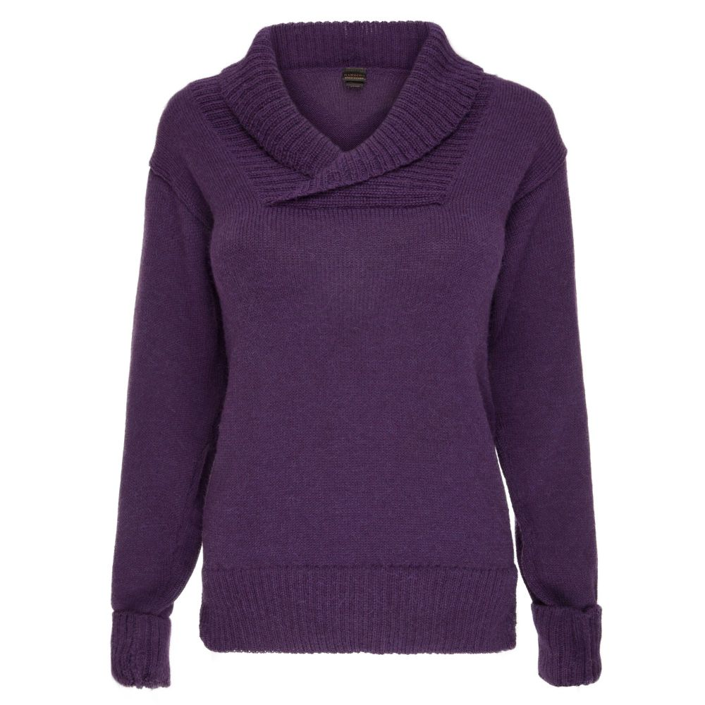 100% pure alpaca shawl collar jumper