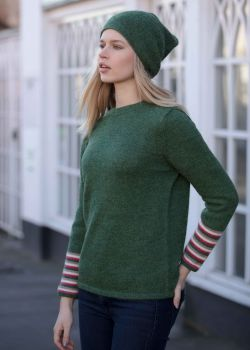 Alpaca jumper with striped cuff