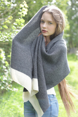 Alpaca and silk shawl in dark grey with cream border
