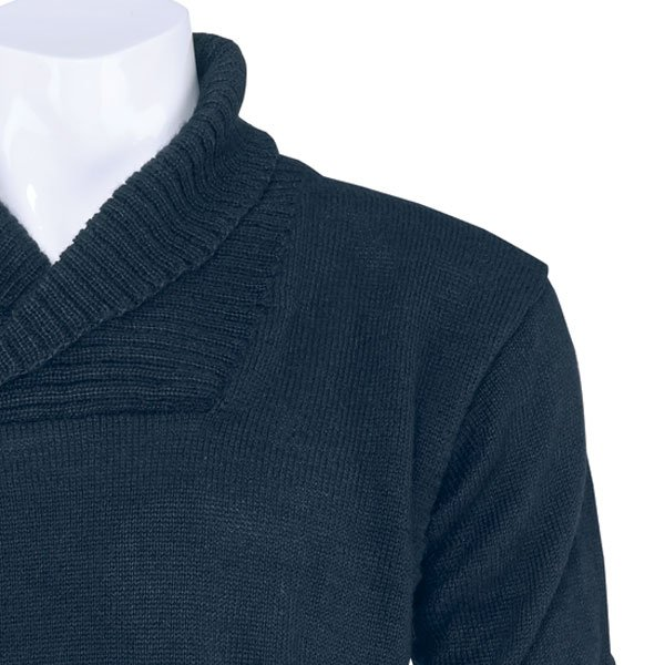 navy shawl collar jumper neck