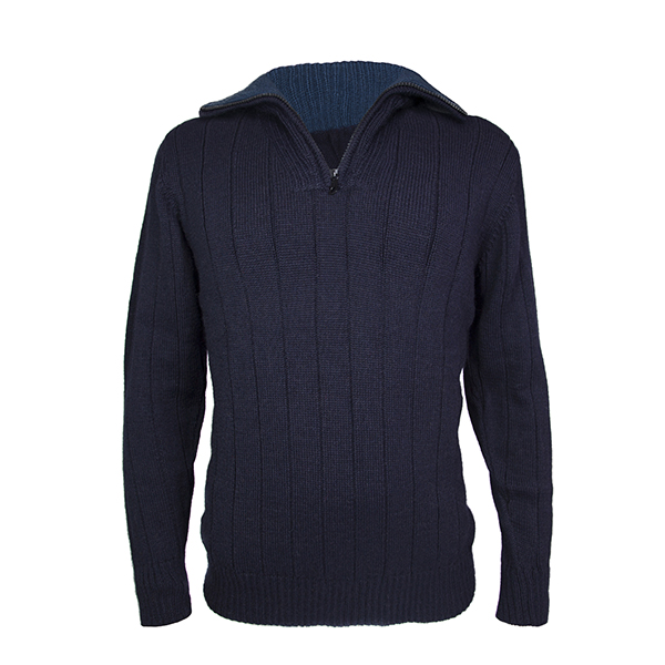 Men's zip neck alpaca jumper in navy blue/ charcoal