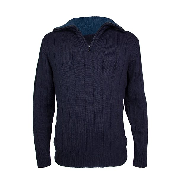Men's zip neck alpaca jumper in navy blue