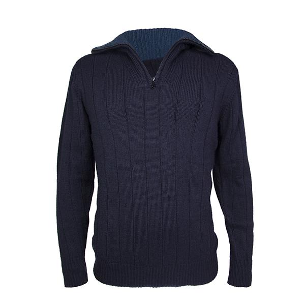 Men's zip neck alpaca jumper in navy blue