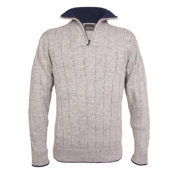 Men's zip neck alpaca jumper in oatmeal fleck