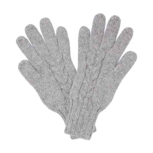 Alpaca cable knit gloves