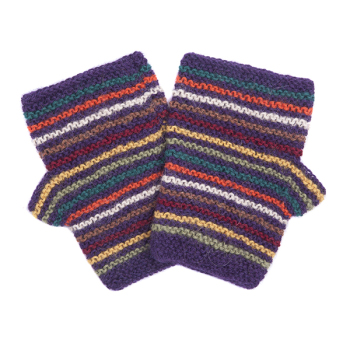 Striped alpaca fingerless mitts
